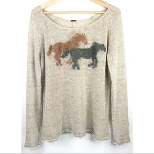 Free People Horses Pony Knit Pullover Sweater Sz M